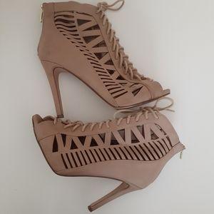Paprika Tinley Caged Lace Up Stiletto